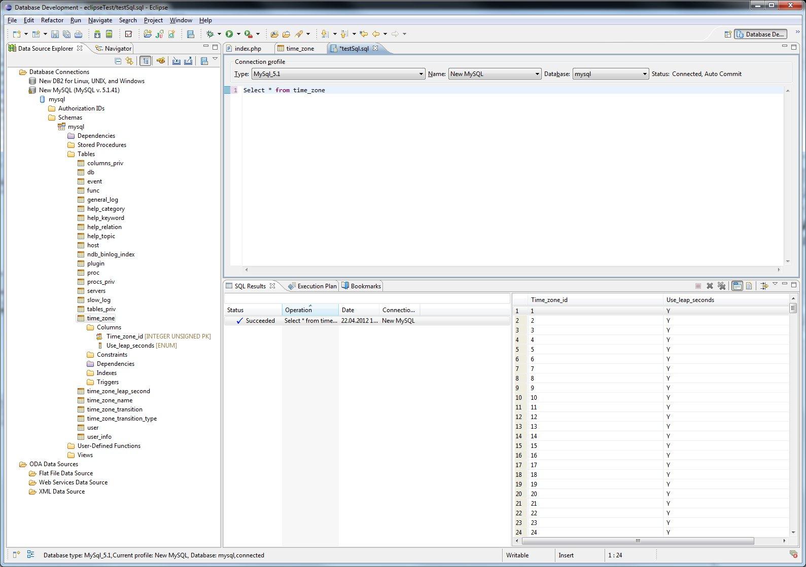 Eigene MySQL Statements absetzen in Eclipse