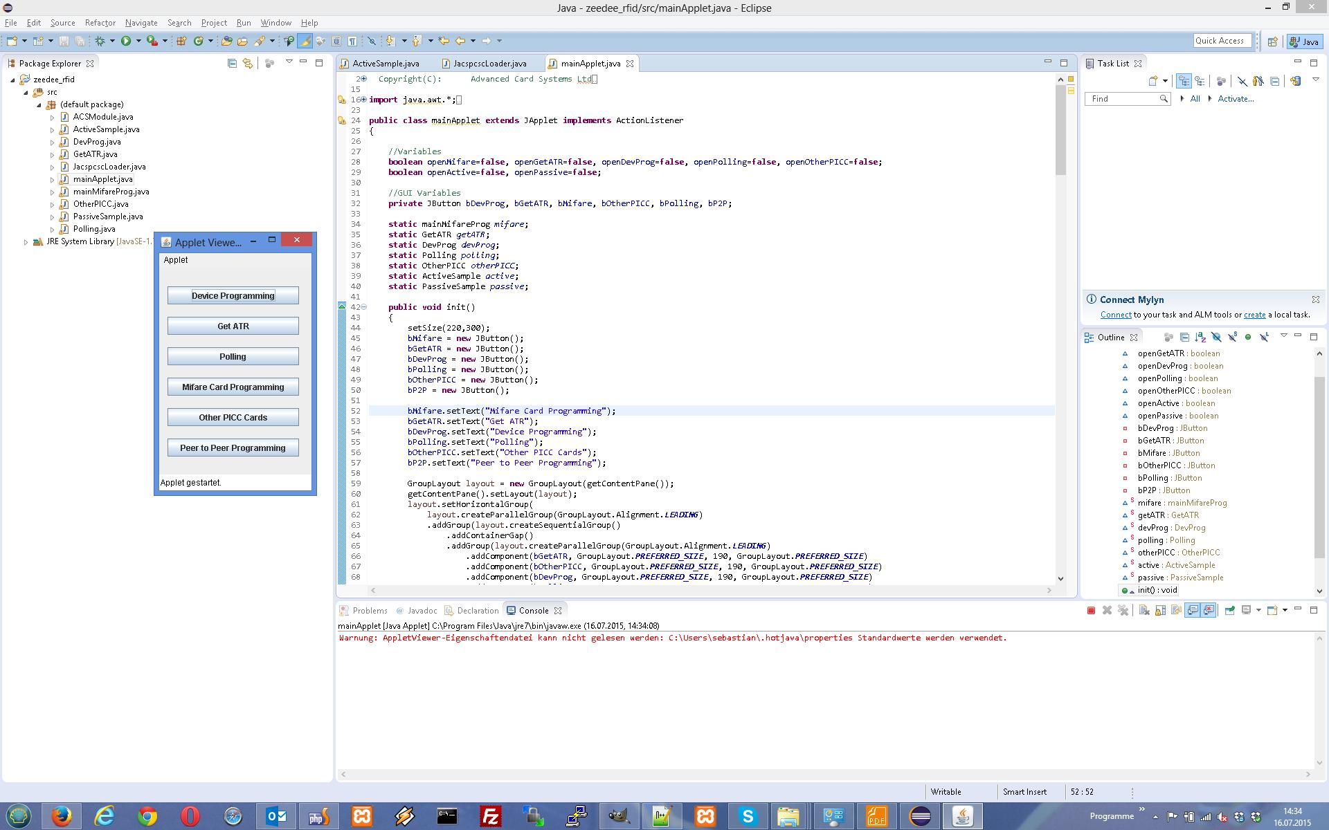 Running ACR122U NFC Card Reader SDK Demo with Java